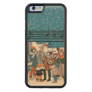 Musical Notes Christmas Carolers Stars Village Carved Maple iPhone 6 Bumper Case