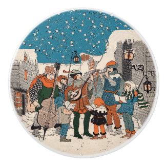 Musical Notes Christmas Carolers Stars Village Ceramic Knob