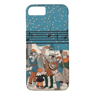 Musical Notes Christmas Carolers Stars Village iPhone 8/7 Case