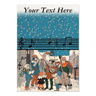 Musical Notes Christmas Carolers Stars Village Magnetic Card