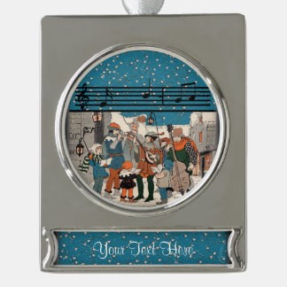 Musical Notes Christmas Carolers Stars Village Silver Plated Banner Ornament