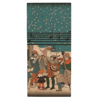Musical Notes Christmas Carolers Stars Village Wood USB 2.0 Flash Drive