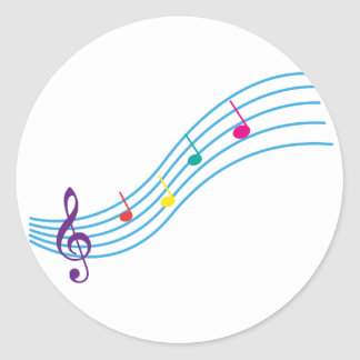 Musical notes classic round sticker
