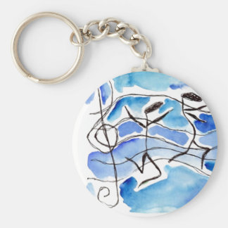 Musical Notes Come to Life Music Adds Joy to Life Basic Round Button Keychain