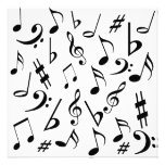 Musical Notes Customizable Invitation Black White