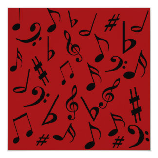 Musical Notes Customizable Invitation Red & Black