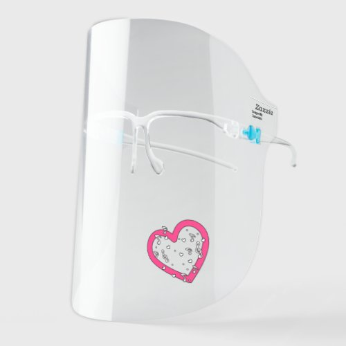 Musical Notes Cute Music Pink Heart Shape Design Face Shield