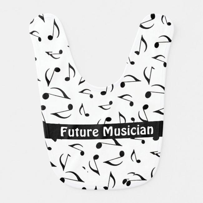 Musical Notes Design Baby Bib