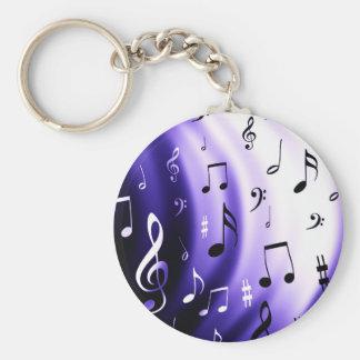 Musical Notes Design Basic Round Button Keychain