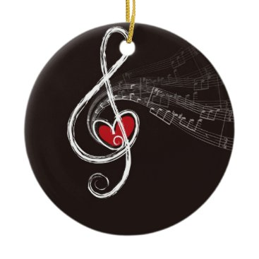 Christmas Themed Musical Notes Design Ceramic Ornament