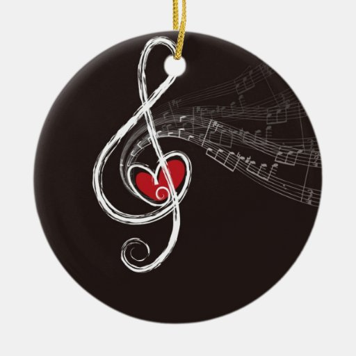 Musical Notes Design Double-sided Ceramic Round Christmas Ornament