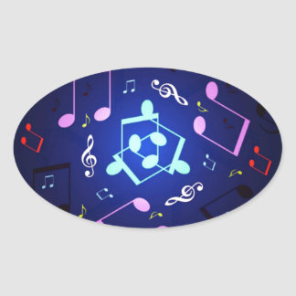 Musical Notes Design Oval Sticker