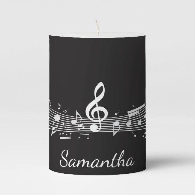 Musical Notes Design Pillar Candle