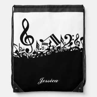 Musical Notes Drawstring Backpack with Custom Name