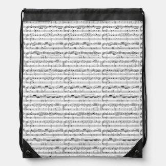 musical notes drawstring bag