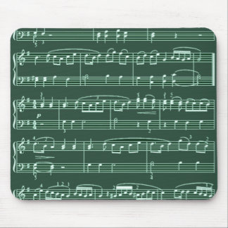 musical notes green mouse pad