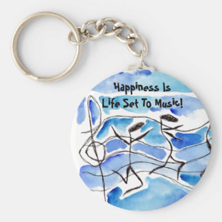 Musical Notes Happiness Is Life Set To Music! Basic Round Button Keychain