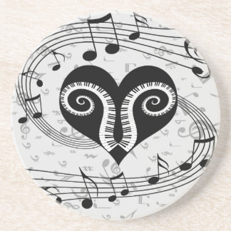 Musical notes heart and piano keys drink coaster