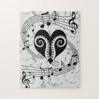 Musical notes heart and piano keys puzzles