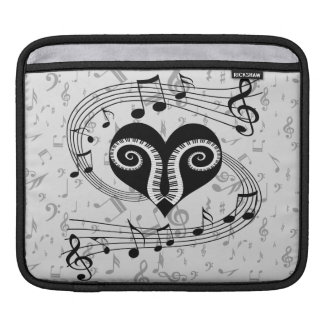 Musical notes heart and piano keys sleeves for iPads