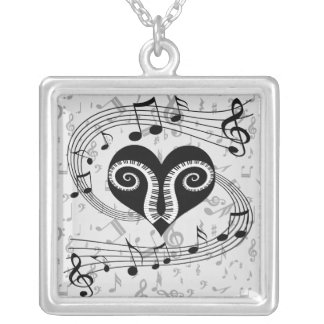 Musical notes heart and piano keys square pendant necklace