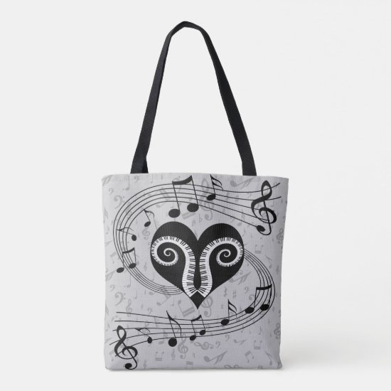 Musical notes heart and piano keys tote bag