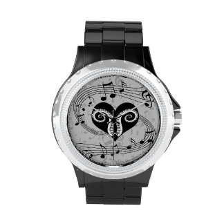 Musical notes heart and piano keys watches