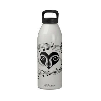 Musical notes heart and piano keys reusable water bottle