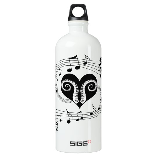 Musical notes heart and piano keys water bottle