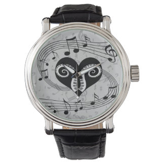 Musical notes heart and piano keys wrist watch