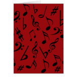 Musical Notes Holiday Card - Red
