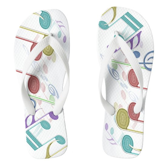 Musical Notes Linear Multicolor Flip Flops
