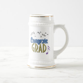 Musical Notes Linear Multicolor GRADUATION Custom Beer Stein