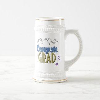 Musical Notes Linear Multicolor GRADUATION Custom Beer Stein