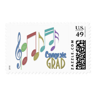 Musical Notes Linear Multicolor GRADUATION Postage