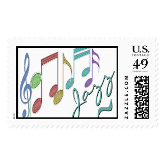 Musical Notes Linear Multicolor JAZZ Postage Stamps