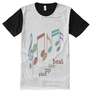 Musical Notes Linear Multicolor PICK UP THE BEAT All-Over Print Shirt