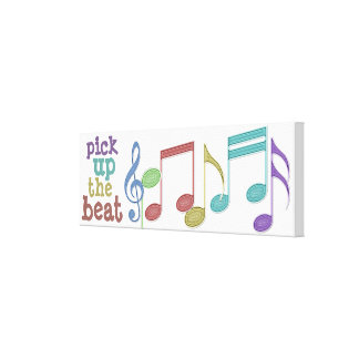 Musical Notes Linear Multicolor PICK UP THE BEAT Canvas Print
