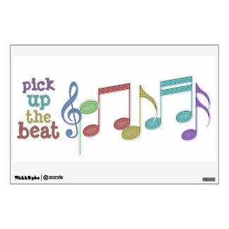Musical Notes Linear Multicolor PICK UP THE BEAT Wall Sticker