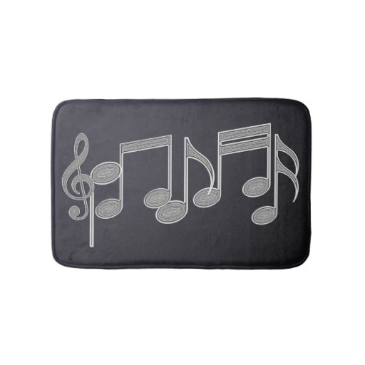 Musical Notes Linear Silver Bathroom Mat Zazzle