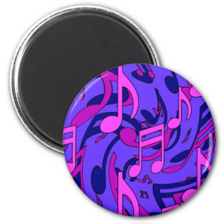 Musical Notes Lively Pattern Purple Blue Pink Magnet