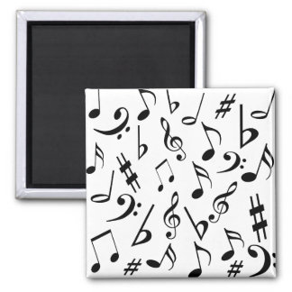 Musical Notes Magnet - Black and White