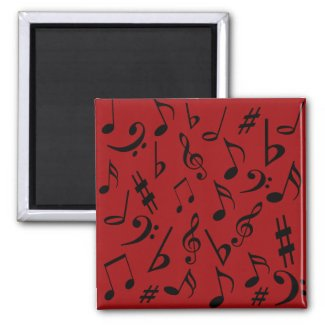 Musical Notes Magnet - Red magnet
