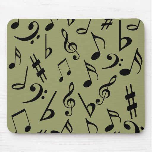 Musical Notes Mousepad - Pale Olive Green