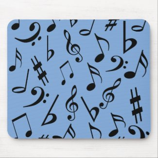 Musical Notes Mousepad - Sky Blue and Black mousepad