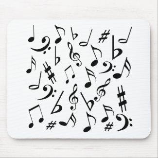 Musical Notes Mousepad - White & Black mousepad