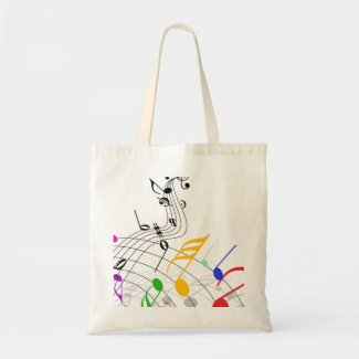 musical notes n staff budget tote bag