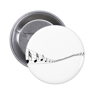Musical notes on a wave shaped stave pinback button