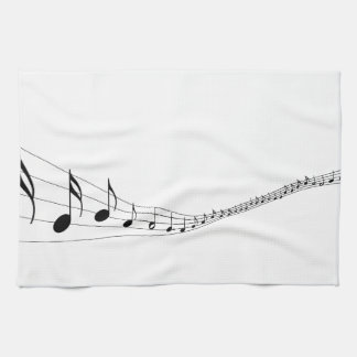 Musical notes on a wave shaped stave hand towel