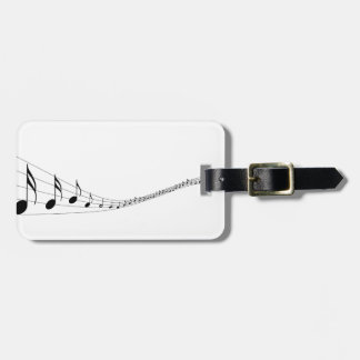 Musical notes on a wave shaped stave travel bag tags